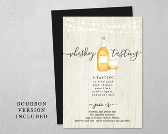 Bourbon / Whiskey Tasting Invitation Template, Printable Invite Evite, Instant Download Digital File, Adult Birthday Party, Fundraiser Event
