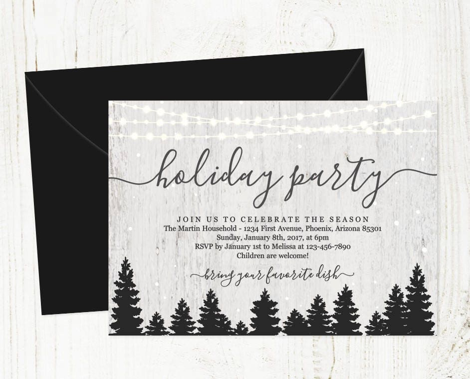 Holiday Party Invitation Printable Christmas Party Template