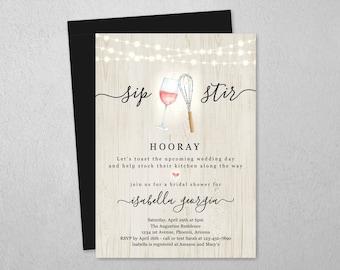 Wine & Whisk Kitchen Bridal Shower Invitation Template, Printable Sip Stir Hooray Theme Invite, Rustic Instant Download Digital File PDF