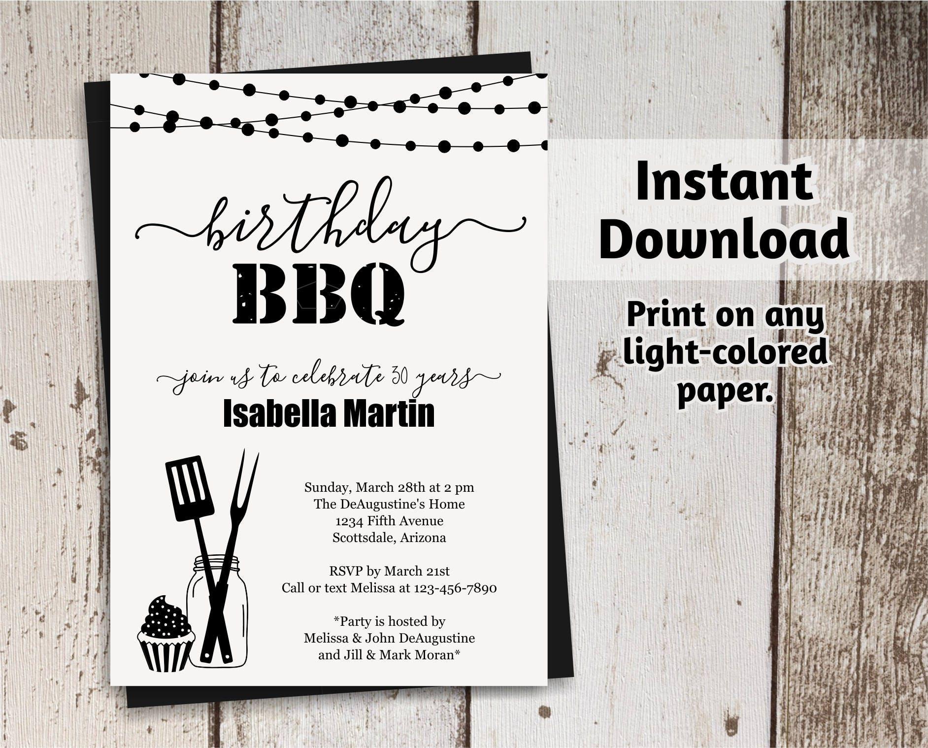 Birthday BBQ Invitation - Women / Men - Printable Barbeque Party ...