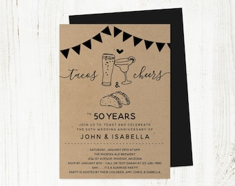 Taco Tequila Cheers Beer Wedding Anniversary Invitation Template, Printable Mexican Party Invite Instant Download, 25th 30th 40th 50th 60th