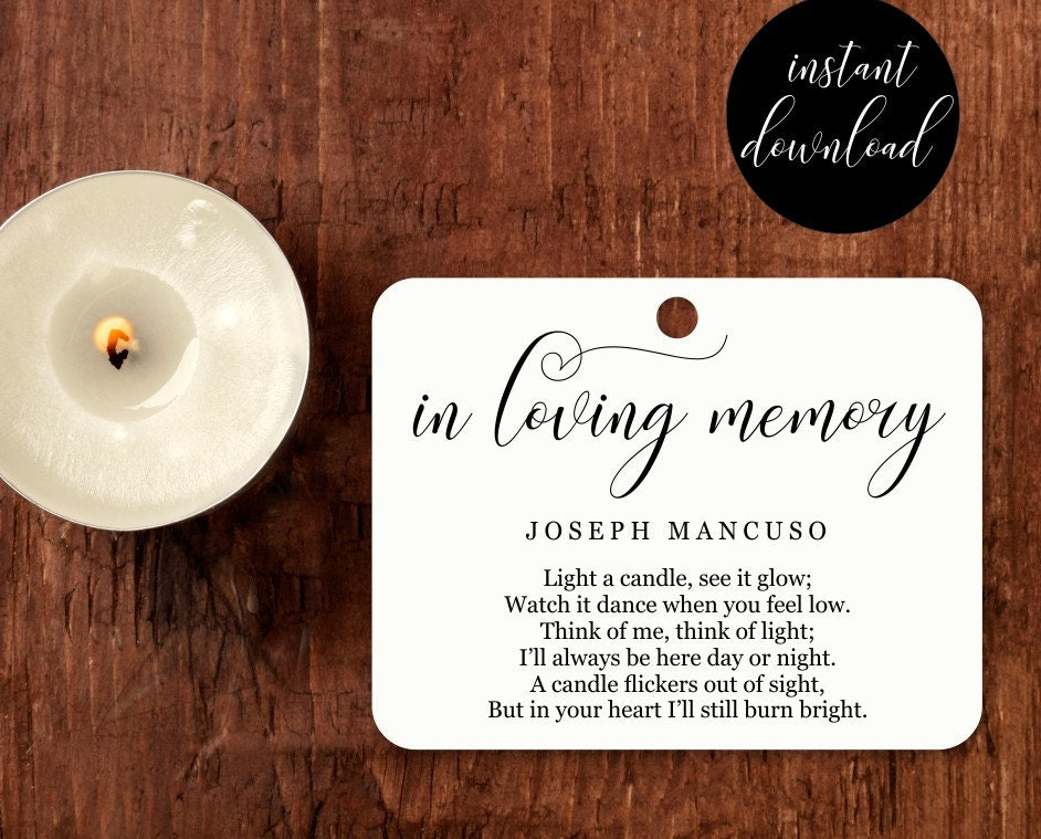 Funeral Favor Tag Template Printable Memorial Candle Tag