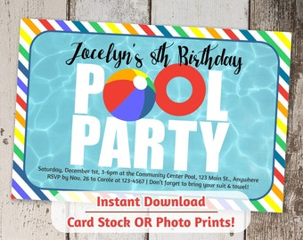 Pool Party Invitation - Girls Rainbow Colors - Printable Digital File Instant Download - Photo Prints or Card Stock - Indoor / Winter Pool