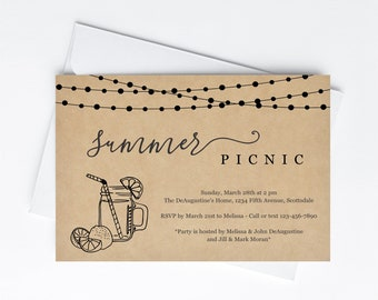 Summer Picnic Party Invitation Template, Rustic Mason Jar Lemonade Kraft Paper, Invite & Evite, Instant Download Digital File, Park Picnic