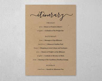 Wedding / Bachelorette Party / Birthday Weekend Itinerary Template, Schedule of Events, Editable Program, Instant Download Digital File PDF