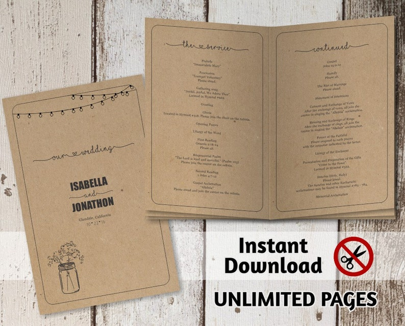 Printable Wedding Ceremony Book Template  Unlimited Pages image 0