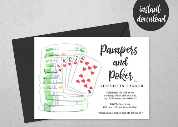 Pampers And Poker Party Invitation Template Printable Daddy Diaper Guys Men Baby Shower Invite Evite Instant Download Digital File Pdf