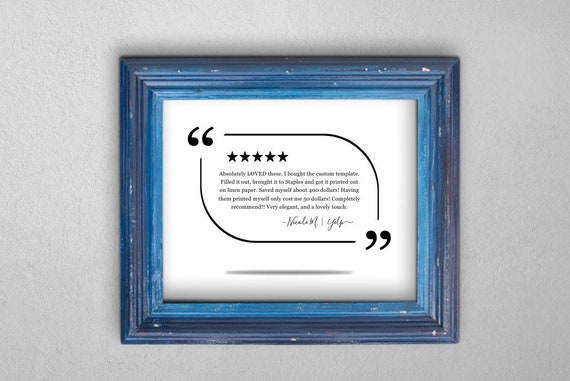 Review sign printable template highlight a five 5 star etsy