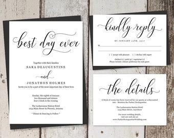 Wedding Invitation Template Printable Set - Best Day Ever Invite - Rustic Unique Wording - Editable Instant Download Digital File PDF Suite