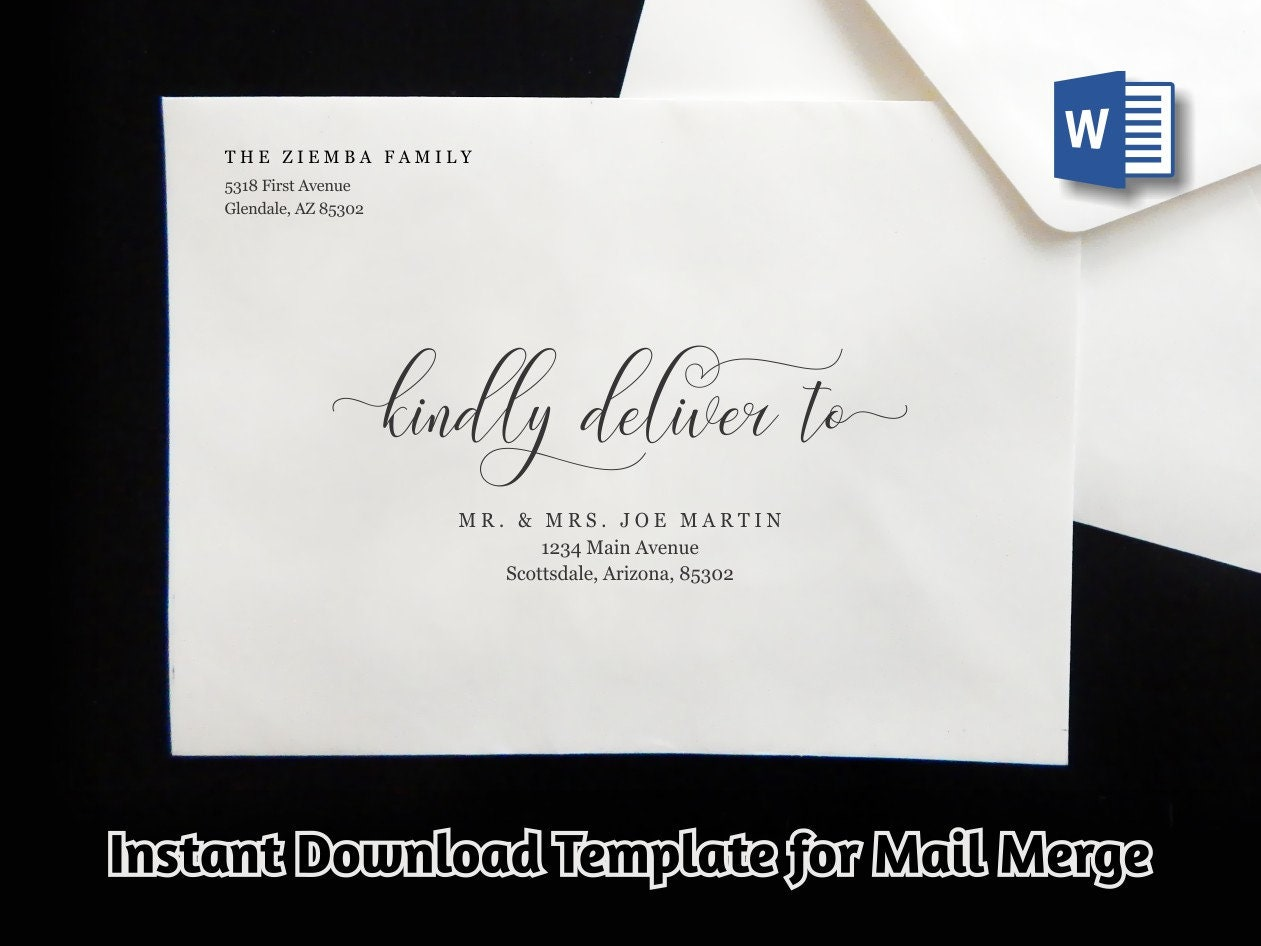 wedding address envelope template for microsoft word mail merge