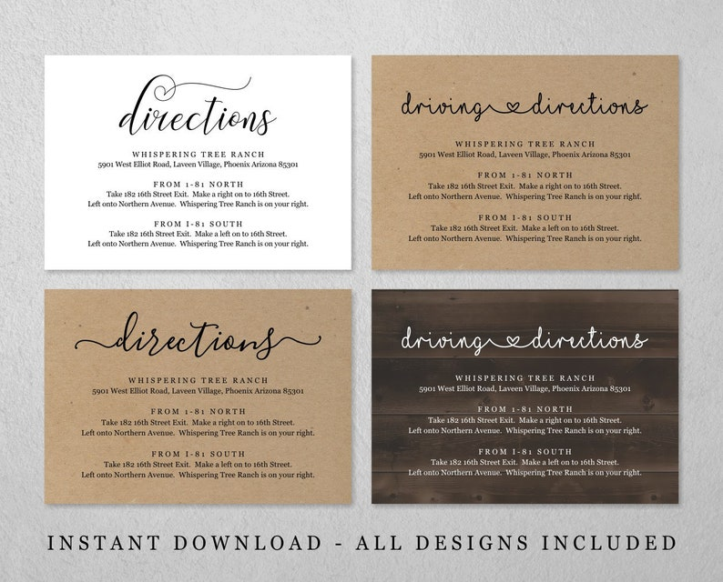 Directions Card Template Printable Wedding Direction Etsy
