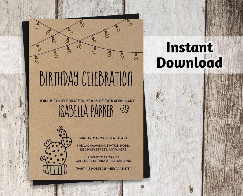 cactus birthday invitation for women printable template rustic