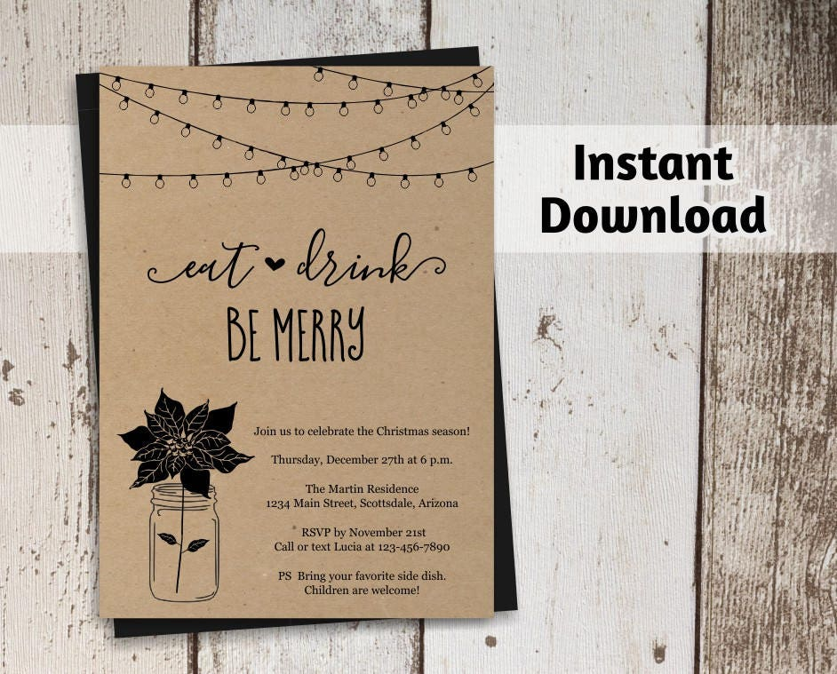 Printable Christmas Party Invitation Template Rustic Kraft Paper
