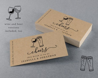 Printable Drink Ticket Template, Customizable Free Alcohol Beer Wine Voucher, Wedding Bar Card Coupon Token -  Editable PDF Instant Download