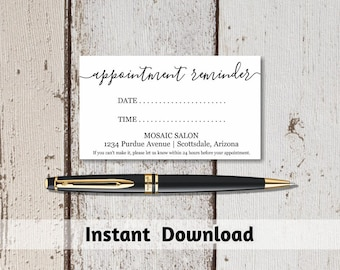 Printable Appointment Reminder Card Template, Simple Rustic - Cardstock, Kraft Paper or Avery Business Card Editable PDF Instant Download