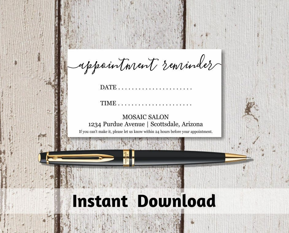 printable appointment reminder card template  simple