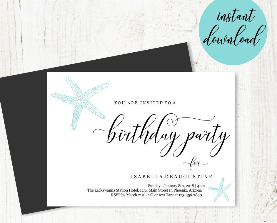Beach Birthday Party Invitation Template Printable Theme Invite Unique Simple Starfish Instant Download Digital File DIY PDF 5x7