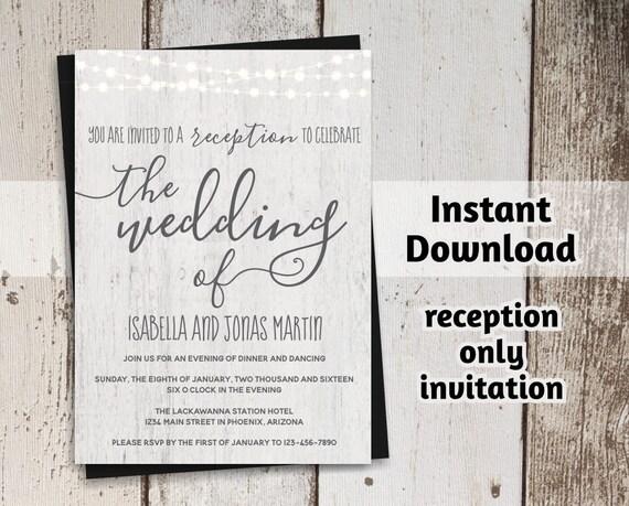 Reception Only Wedding Invitations: Printable Reception Only Invitation Template Rustic Fairy
