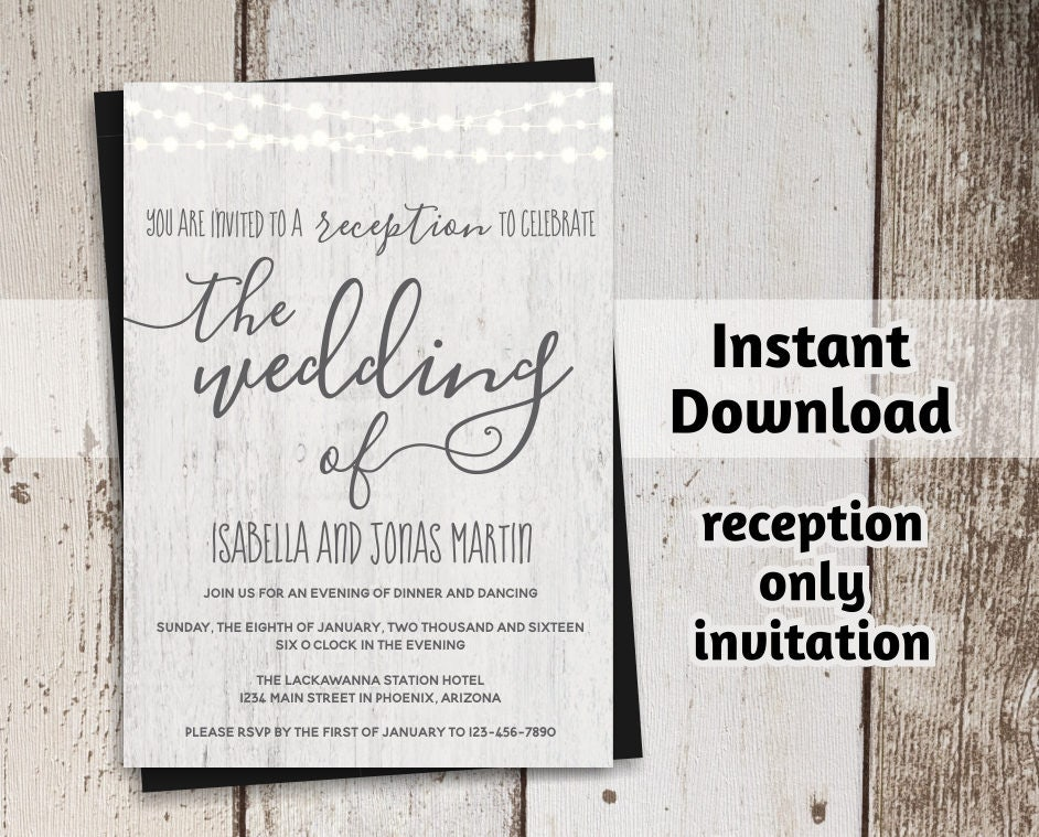 Printable Reception Only Invitation Template Rustic Fairy Light