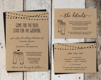 Funny Beer Wedding Invitation Template - Fun Brewery Glass Toast Printable Set - Rustic Kraft Paper   Instant Download PDF Suite - Lights