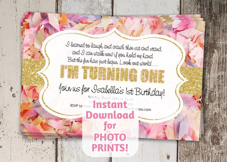 Adorable Poem For 1st First Birthday Invitation Girls Party