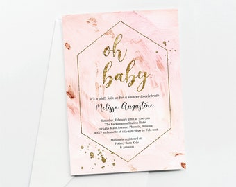 Rose Gold Glitter Girls Baby Shower Invitation Template, Editable Sprinkle, Oh Baby Gold Foil Evite & Invite, Printable Instant Download DIY