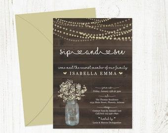 Sip and See Invitation Template - Rustic Printable Sip & See Party Invite - Mason Jar, Wood - Instant Download DIY Digital File PDF 5x7
