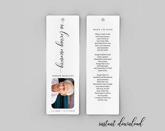 Funeral Bookmark Template - Printable Memorial Bookmark - Personalized / Customized Photo Bookmark Gift / Favor - Instant Download File PDF