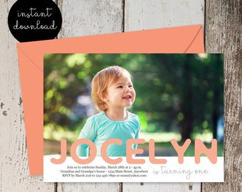 Boy or Girl First Birthday Invitation Template - Add Photo / Picture - 1st Birthday Invite Card - Instant Download Digital File DIY 5x7 PDF