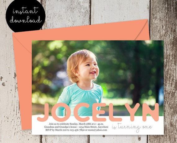 Boy Or Girl First Birthday Invitation Template Add Photo Picture 1st Birthday Invite Card Instant Download Digital File Diy 5x7 Pdf