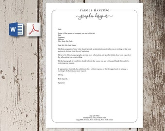 Professional Letterhead Template for Word and PDF, Custom Business or Personal Stationary, Simple and Easy Design, Personalized Letters, DIY