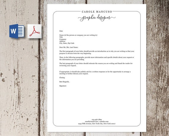 Professional Letterhead Template For Word And Pdf Custom Etsy