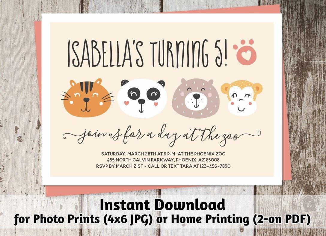 Printable Zoo Invitation