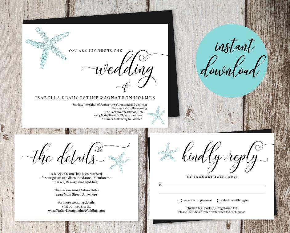 Beach Wedding Invitation Template Printable Starfish Set