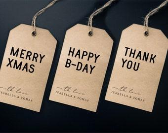 Printable Simple Gift Tag Template, Wine Tag, Thank You Tag, Blank Tag, Birthday, Christmas, Instant Download Editable Digital File DIY PDF