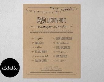 Editable Wedding Photo Scavenger Hunt Template, Printable I Spy Reception Table Game Card Activity, Instagram Sign Instant Download Digital