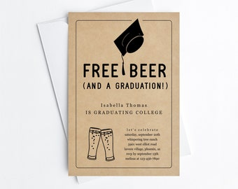 Free Beer Funny 2021 Graduation Party Invitation Template, Fun Printable Brewery Invite Evite Women Men College Grad Download Digital File