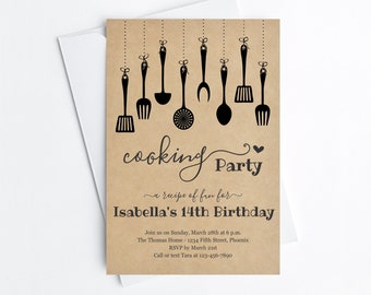 Cooking Birthday Party Invitation Template, Printable Invite Evite, Girl Women Adult Theme Easy Instant Download Digital File PDF