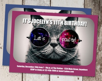 Cat Invitation Template - Printable Cool Cat Birthday Party Invite & Evite - Kitty Instant Download Digital File - Girl / Boy Tween Funny