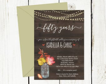 Fall Wedding Anniversary Invitation - Rustic Watercolor Floral Leaf Party Template - 5th 10th 15th 20th 25th 30th 40th 50th 60th 70th - Wood