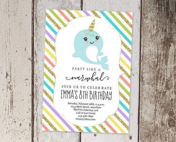 printable narwhal invitation template girls birthday party etsy