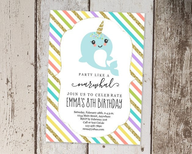 Printable Narwhal Invitation Template Girls Birthday Party Invite