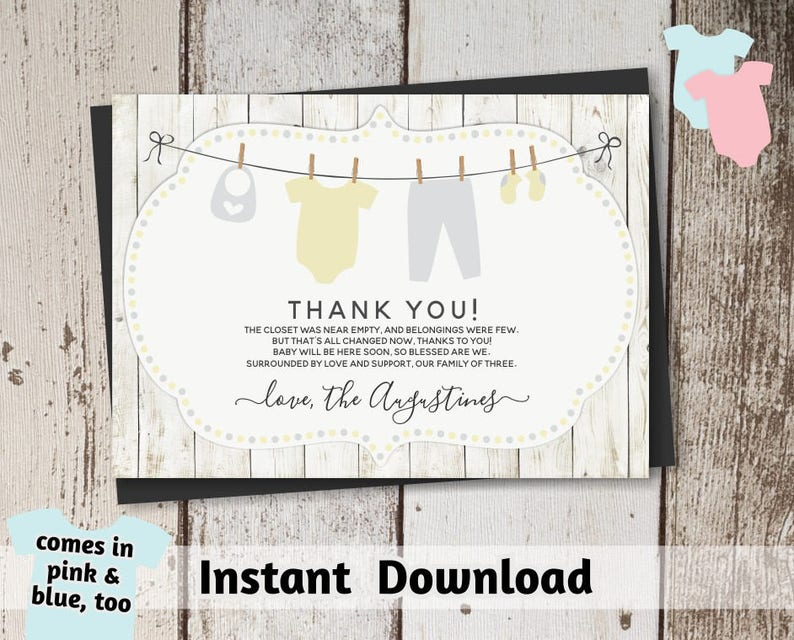 Printable Rustic Baby Shower Thank You Card Template Gender Etsy
