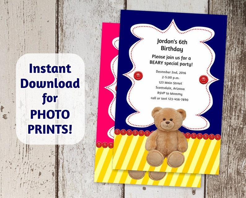 0ca116afccf Bear Invitation for Build a Bear Birthday Party Instant