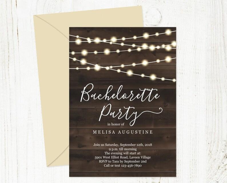 Rustic Bachelorette Party Invitation Template