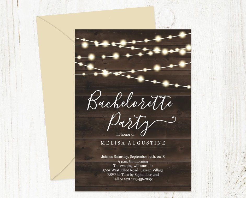 Rustic Bachelorette Party Invitation Template
