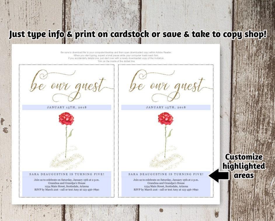 Beauty The Beast Birthday Invitation Template Printable Girl