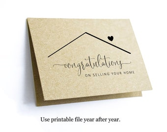Printable Congratulations on Selling Your Home Card Template, Blank Folded Congrat Notecard, Realtor Real Estate Agent Note Download Digital