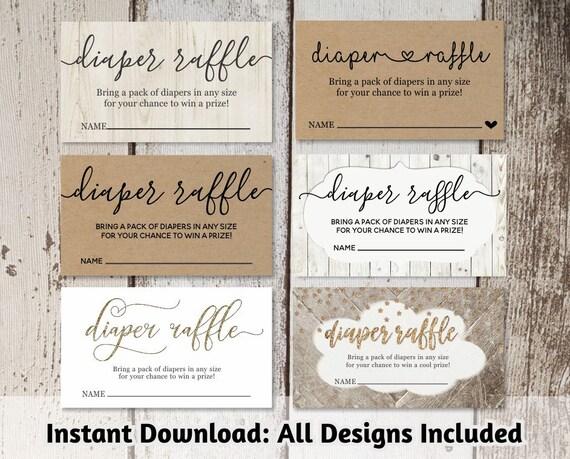 Printable Diaper Raffle Card Template Baby Shower Invitation Insert Digital File Instant Download Rustic Calligraphy Heart Kraft Paper