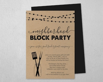 Neighborhood Block Party Invitation Template, Printable Street Party Invite, Meet the Neighbor, Business BBQ, Instant Download Digital File